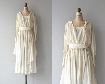 Edwardian silk dress | vintage 1920s dress • cream silk 20s dress