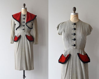 Farnese Check dress and jacket | vintage 1940s dress • 40s dress and jacket