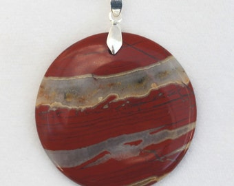 Flame Agate Round Pendant