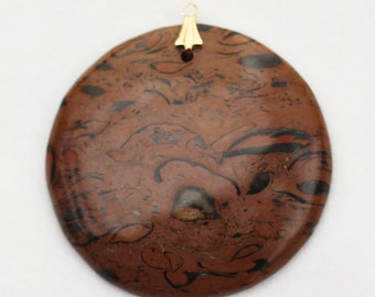 Tiger Skin Jasper Round Pendant with 14k Gold-Plated Brass Bail