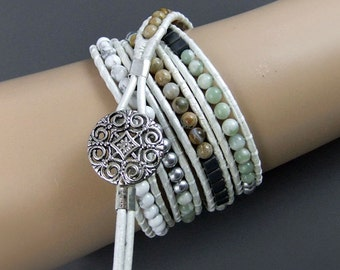 Beaded Leather Wrap Bracelet Peace Jade, Ivory Leather Cord, Handmade, 4 x Wraps