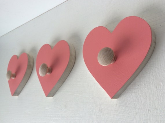 Items similar to heart wall hooks room decor kids decor eco friendly on etsy - Kids decorative wall hooks ...