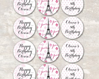 PRINT & SHIP- Paris Birthday Party Cupcake Toppers (set of 12) >> personalized and shipped to you | Paper and Cake