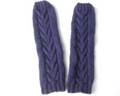 Purple Leg Warmers, Womens Knit Leg Warmers,  Boot Toppers, Knit Boot Cuffs, Cables, Pure Chunky Wool, Ready To Ship