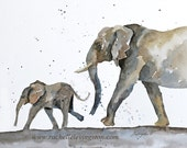 for her watercolor painting Elephant PRINT art african wall hanging african wall art nursery art print  animal poster 11x14 wall decor