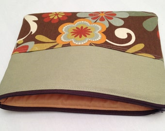 Zipper iPad air padded sleeve /  Zipper iPad air 2  with retina /  made in Maine/ floral with brown and olive green