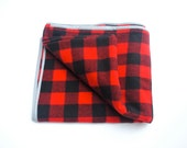 Plaid Wool Throw Blanket, Throw, Wool Blanket, Rustic Decor, Black and Red, Buffalo Check, for Men