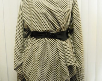 Houndstooth Wool Blend Ruana Wrap Cape in Shades of Black Tan Cream