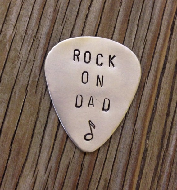 Hand stamped nickel silver guitar pick Rock on Dad- ready to ship Christmas gift for him plectrum