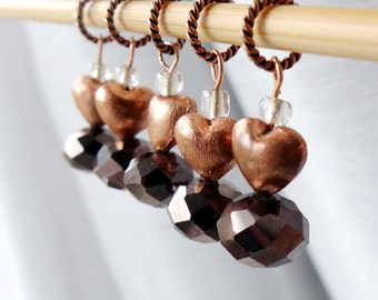 Turning Copper to Love -  Five Handmade Stitch Markers - 6.0 mm (US 9) - One of a Kind