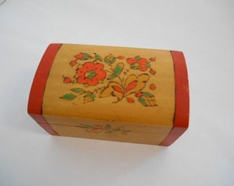 Russian Folk Art Wood Box