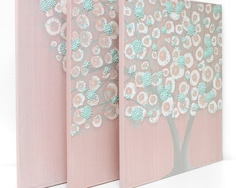 Baby Nursery Tree Art for Girl - Pink and Teal Textured Painting on Canvas Triptych - Large 50x20 - MADE TO ORDER