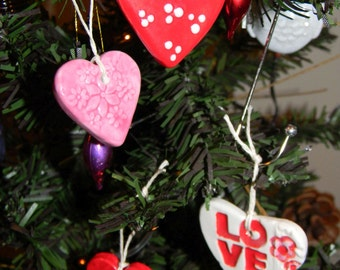 4 Valentine Heart   ceramic ornaments,  handmade  Love ornaments - Glazed ceramic