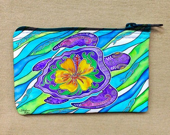 Hibiscus Turtle Coin Purse, Change Purse, Coin Bag