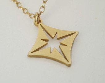 Tiny Compass Star Necklace, Compass Star Charm, Compass Necklace
