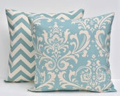 Village Blue Throw Pillow COVERS - Ozbourne and Zig Zag Chevron - Village Blue Natural - Available in 16x16, 18x18, 20x20