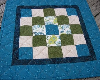Quilted Table Runner /  TableTopper / Wall Hanging, Green and Teal, 19 x 19 inches square