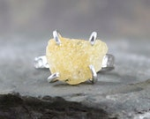 Heliodor Ring - Raw Uncut Rough Heliodor - Golden Yellow Beryl Ring - Heliodor Gemstone - Jewellery Made in Canada - Rustic Gems