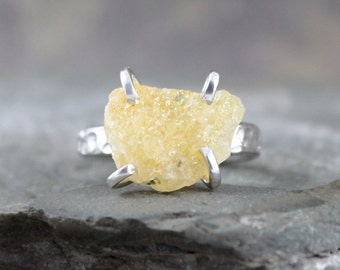 Heliodor Ring - Raw Uncut Rough Heliodor - Golden Yellow Beryl Ring - Heliodor Gemstone - Jewellery Made in Canada - Rustic Gems