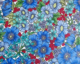Floral Cotton Fabric - A Floral Painting Fabric in Blue and Red - Sewing Fabric - Half Yard