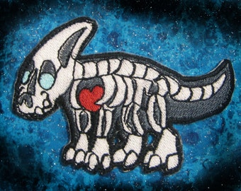 Rocken Parasaurolophus Dinosaur  Skeleton Iron on Patch