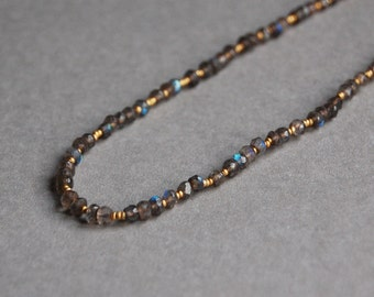 Labradorite and Matte Gold Seed Bead Necklace, Understated, Elegant, Modern Layering Necklace
