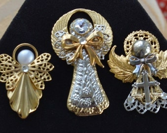 Pretty Vintage Gold tone, Silver tone Angel Lot, Crystal, Supplies, Repurpose, Upcycle