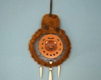 Bear Head Dream Catcher, Bear Totem, Shield Wall Hanging