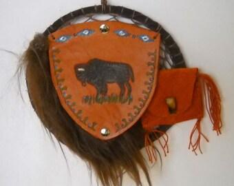 Bison Medicine Bag Dream Catcher, Buffalo Totem, Shield Wall Hanging