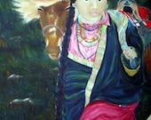 Art Horse Painting Large Oils Tibetan Teen  OOAK New Year's price reduction