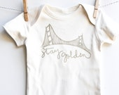 San Francisco Baby Shower Gift Hand Printed Golden Gate Bridge on Organic Baby Bodysuit Gender Neutral Gift California Baby Stay Golden