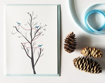 Letterpress Christmas New Years Cards The Blue Birds Decorate - Holiday Cards Set for Bird and Nature Lovers