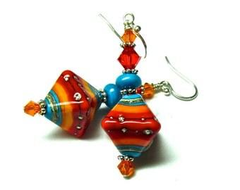 Southwest Earrings, Crystal Shaped Earrings, Handmade Earrings, Lampwork Earrings, Glass Earrings, Handmade Jewelry, Lampwork Jewelry