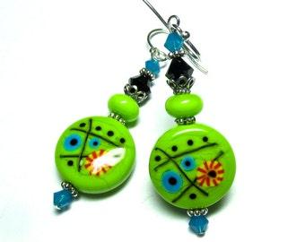 Bright Colorful Earrings Lampwork Earrings Unique Earrings Glass Lampwork Earrings, Handmade Earrings, Lime Green Earrings, Artisan Earrings