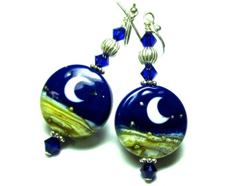 Crescent Moon Earrings, Lampwork Earrings, Crescent Moon Earrings, Celestial Earrings, Blue Earrings, Glass Earrings, Handmade Earrings