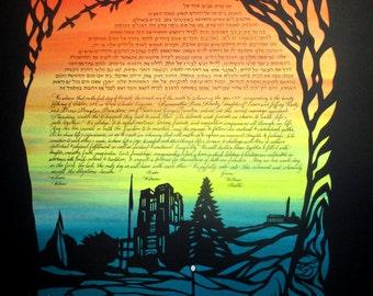 Virginia Tech Drill Field Papercut Ketubah silhouette - calligraphy