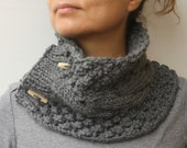 Slate Grey Smoke Foggy Grey Gray Knit Cable Chunky Cowl Winter Accessories Neck Warmers Scarf With Buttons
