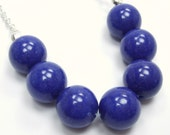 South Collection - Deep Blue Lapis Beaded Necklace - Denim Jade Blueberry Bold Bright Statement Necklace Statement