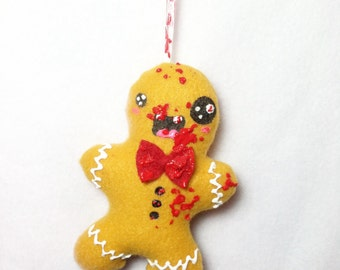Zombie Gingerbread Man - Weird Plush Christmas Ornament MADE TO ORDER