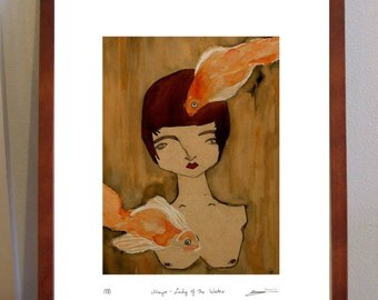 Maya Lady of the Water- A4 Print of woman and two golffish
