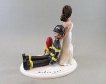 Bride Dragging Firefighter Custom Handmade Wedding Cake Topper