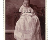 baby in very fancy white gown, cabinet card photo