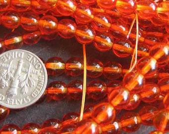 Vintage 72+/- Czech  Reddish Orange Czech Glass Beads 6mm Round GL5B