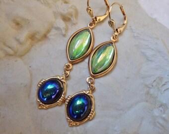 Blue Green Earrings ~ Art Deco Style Earrings ~ Seahawks Colors  ~ Vintage Glass