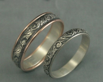 Going Baroque Touch of Gold Bimetal Wedding Rings--Oxidized Vine and Leaf Bands--Two Tone Wedding Bands--Your Choice of Gold Edging Color