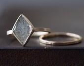 Natural Clear-White Geometric Diamond Slice Ring