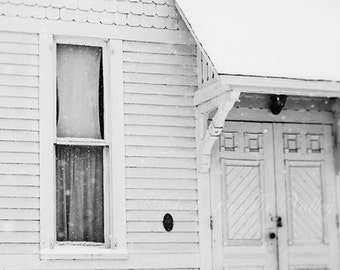 Architecture Photo, Window Photograph, Wall Art, Rustic Home Decor, Black and White, Grey, Ethereal Art, Fine Art Photography, Winter, Snow