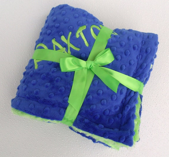 Royal Blue And Kiwi Green Minky Blanket For Baby Boy Can Be