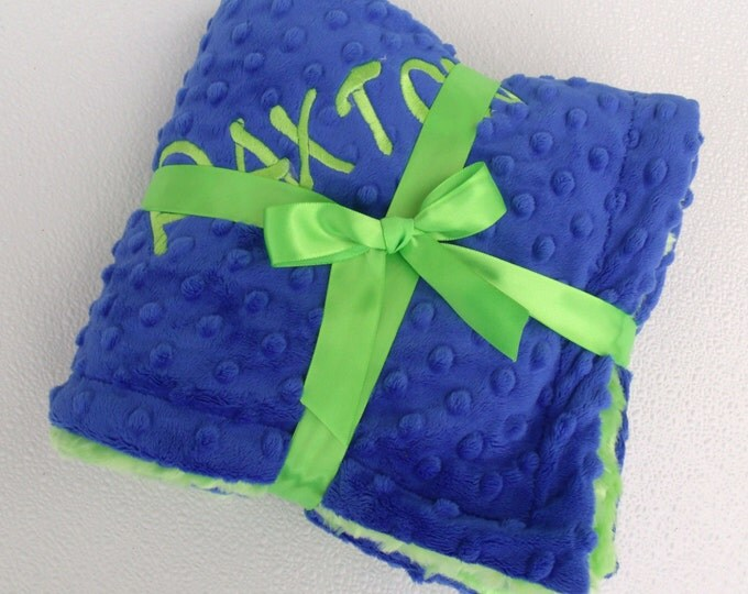Royal Blue and Kiwi Green Minky Blanket for Baby Boy Can Be Personalized
