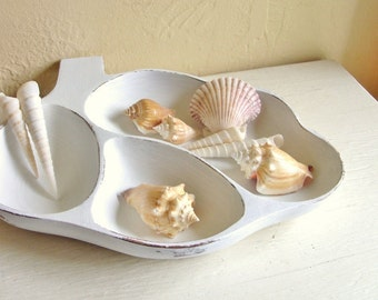 Shabby Chic White Wooden Dish Vintage 3 Compartment Storage Tray